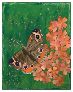 Butterfly trailed by flowers no words